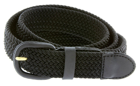 Unisex Braided Elastic Woven Stretch Belt with Genuine Leather Buckle - WholesaleLeatherSupplier.com  - 19