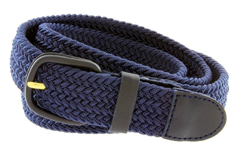 Unisex Braided Elastic Woven Stretch Belt with Genuine Leather Buckle - WholesaleLeatherSupplier.com  - 20