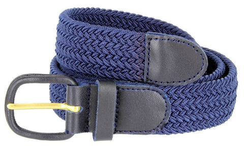 Unisex Braided Elastic Woven Stretch Belt with Genuine Leather Buckle - WholesaleLeatherSupplier.com  - 5