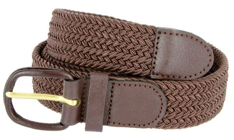 Unisex Braided Elastic Woven Stretch Belt with Genuine Leather Buckle - WholesaleLeatherSupplier.com  - 2