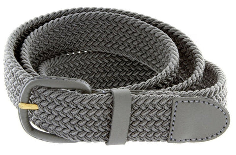Unisex Braided Elastic Woven Stretch Belt with Genuine Leather Buckle - WholesaleLeatherSupplier.com  - 21