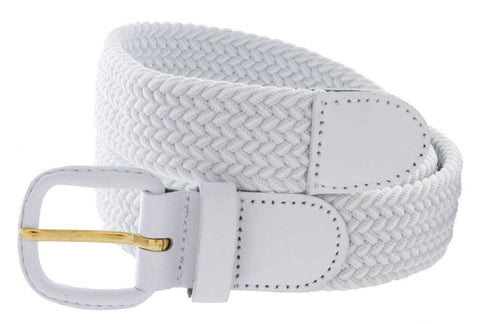 Unisex Braided Elastic Woven Stretch Belt with Genuine Leather Buckle - WholesaleLeatherSupplier.com  - 7