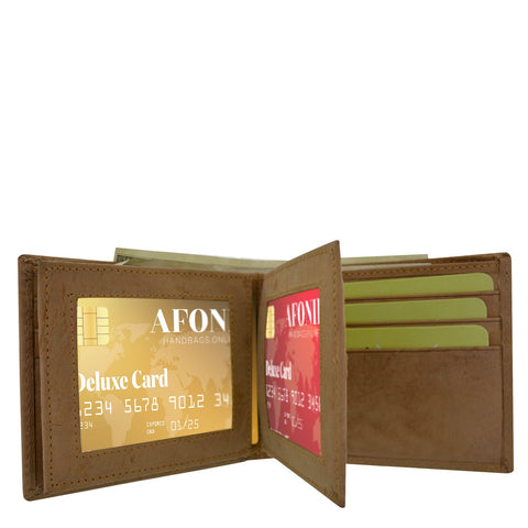 Leather Wallet 2 Center Flaps 2 ID Windows