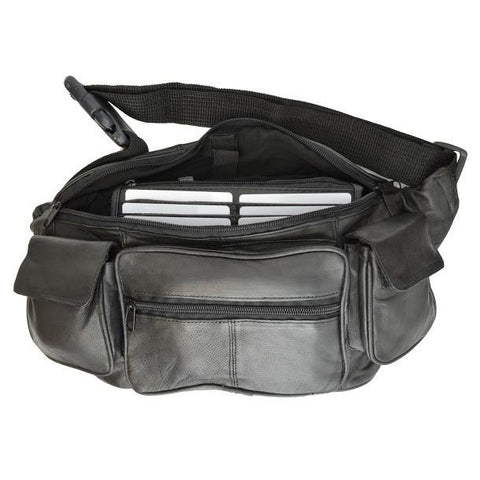 Eight Pockets Genuine Jumbo Size Leather Fanny Pack - Black