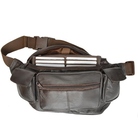 AFONiE Eight Pockets Genuine Jumbo Size Leather Fanny Pack - Brown