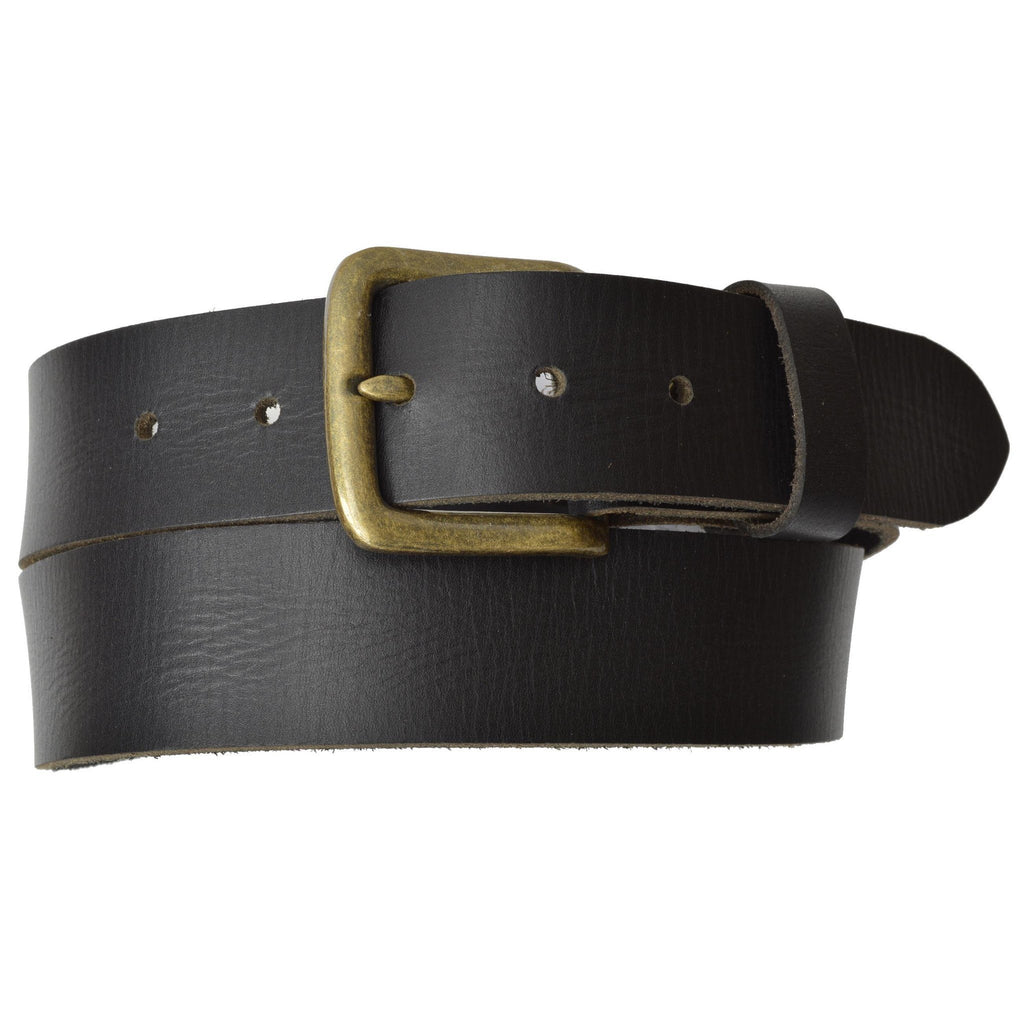 Genuine Leather Belt with Bronce Buckle - WholesaleLeatherSupplier.com