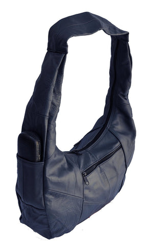 Large Top Zip Hobo Genuine Leather Grey Color - WholesaleLeatherSupplier.com  - 23