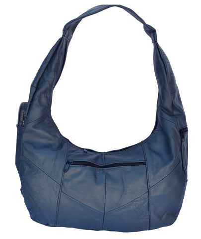 Large Top Zip Hobo Genuine Leather Grey Color - WholesaleLeatherSupplier.com  - 4