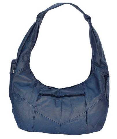 Large Top Zip Hobo Geniune Leather Grey Color - WholesaleLeatherSupplier.com  - 8