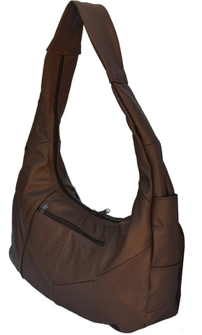 Large Top Zip Hobo Genuine Leather Grey Color - WholesaleLeatherSupplier.com  - 18