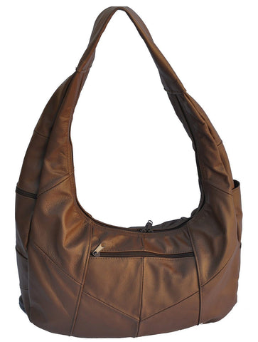Brown Large Top Zip Hobo Genuine Leather - WholesaleLeatherSupplier.com  - 4