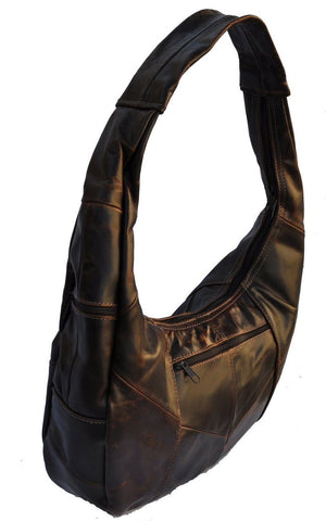 Brown Large Top Zip Hobo Genuine Leather - WholesaleLeatherSupplier.com  - 2