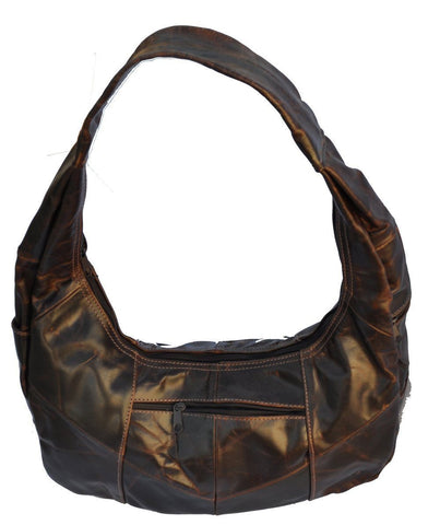 Brown Large Top Zip Hobo Genuine Leather - WholesaleLeatherSupplier.com  - 23