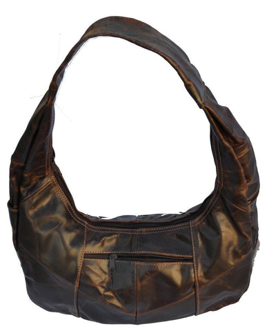Large Top Zip Hobo Genuine Leather Grey Color - WholesaleLeatherSupplier.com  - 22