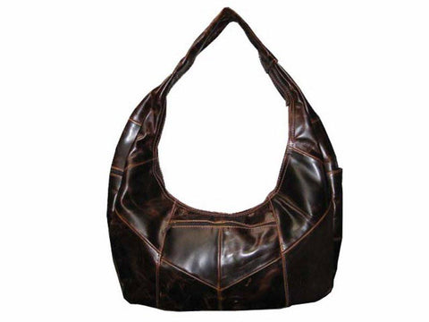 Brown Large Top Zip Hobo Genuine Leather - WholesaleLeatherSupplier.com  - 17