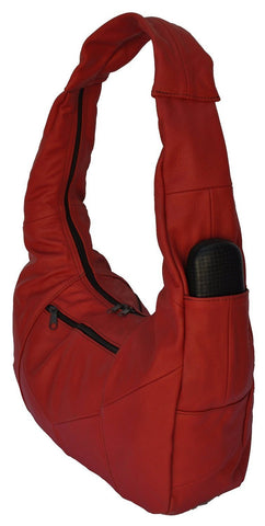 Large Top Zip Hobo Genuine Leather Red Color - WholesaleLeatherSupplier.com  - 25