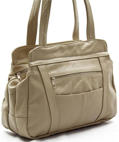 3 Compartments Tote Leather Bag - Tan - WholesaleLeatherSupplier.com  - 5