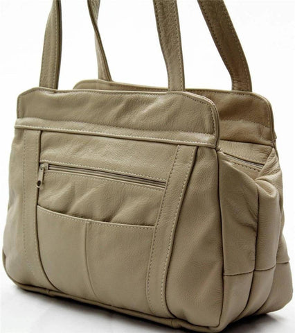 3 Compartments Tote Leather Bag - Tan - WholesaleLeatherSupplier.com  - 7