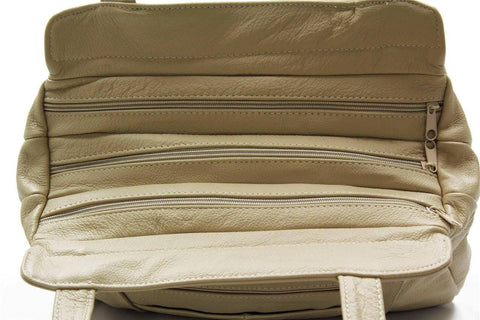 3 Compartments Tote Leather Bag - Tan - WholesaleLeatherSupplier.com  - 17