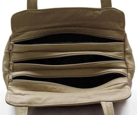 3 Compartments Tote Leather Bag - Tan - WholesaleLeatherSupplier.com  - 18