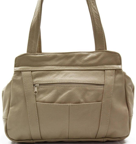3 Compartments Tote Leather Bag - Tan - WholesaleLeatherSupplier.com  - 2