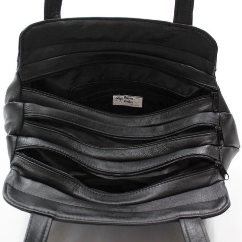 3 Compartments Tote Leather Bag - Black - WholesaleLeatherSupplier.com