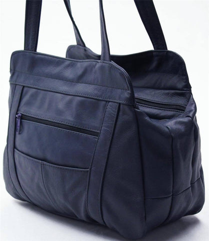 3 Compartments Tote Leather Bag - Blue - WholesaleLeatherSupplier.com