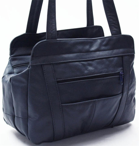 3 Compartments Tote Soft Leather Bag - 8 Colors - WholesaleLeatherSupplier.com  - 14