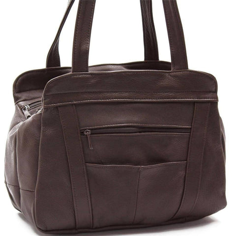 3 Compartments Tote Leather Bag - Black