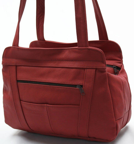 Three Compartments Leather Tote