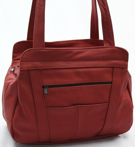 3 Compartments Tote Leather Bag - Red - WholesaleLeatherSupplier.com  - 22