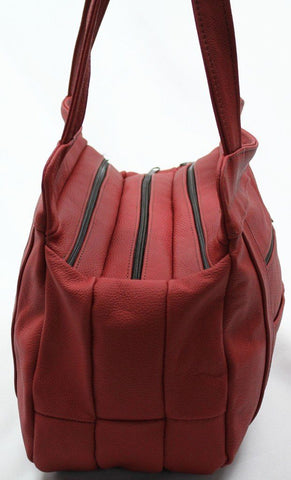 3 Compartments Tote Leather Bag - Red - WholesaleLeatherSupplier.com  - 30