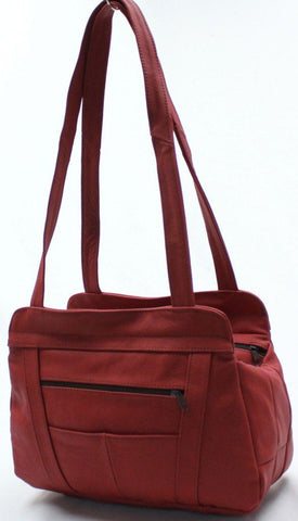 3 Compartments Tote Leather Bag - Red - WholesaleLeatherSupplier.com  - 35