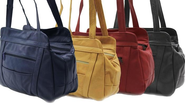 3 Compartments Tote Soft Leather Bag - 8 Colors - WholesaleLeatherSupplier.com  - 2