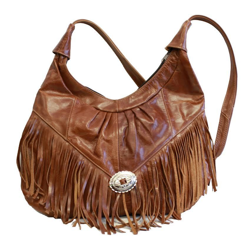 Fringe Hobo Bag - Soft Genuine Leather Brown Color - WholesaleLeatherSupplier.com  - 1