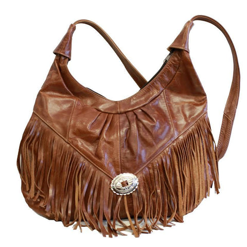 Fringe Hobo Bag - Soft Genuine Leather Brown Color