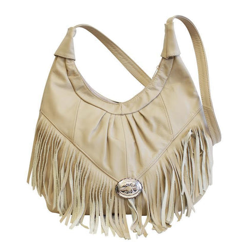 AFONiE Fringe Hobo Bag - Light Soft Genuine Leather Beige Color