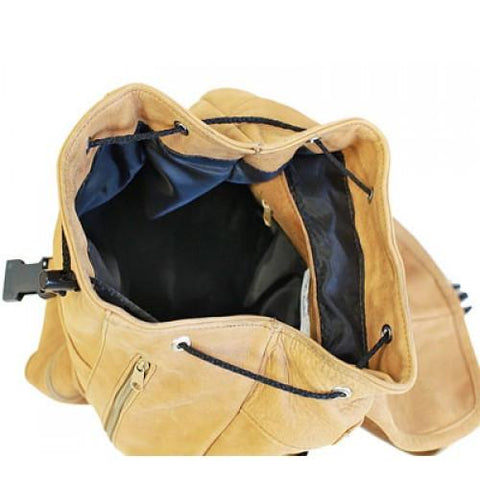 Genuine Leather Backpack with Convertible Strap Super Soft Leather Tan Color - WholesaleLeatherSupplier.com  - 2