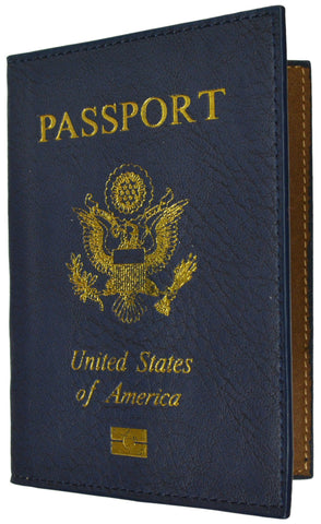 Leather USA Logo Passport Holder - Navy Blue - WholesaleLeatherSupplier.com  - 2