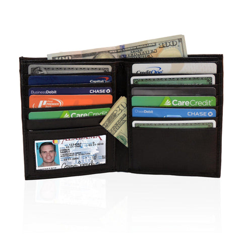 Deluxe RFID-Blocking Genuine Leather Bifold Wallet For Men - Black - WholesaleLeatherSupplier.com  - 1