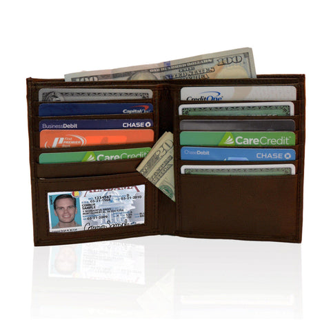 Deluxe RFID-Blocking Genuine Leather Bifold Wallet For Men - Brown