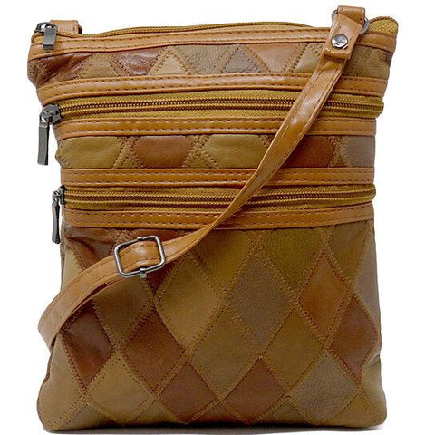 Patchwork Leather Design Crossbody Bag