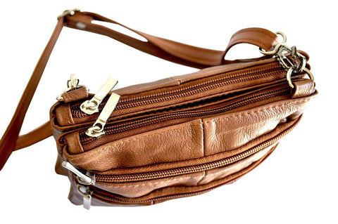 Quality Genuine Leather Cross-Body Bag Tan Color - WholesaleLeatherSupplier.com  - 13