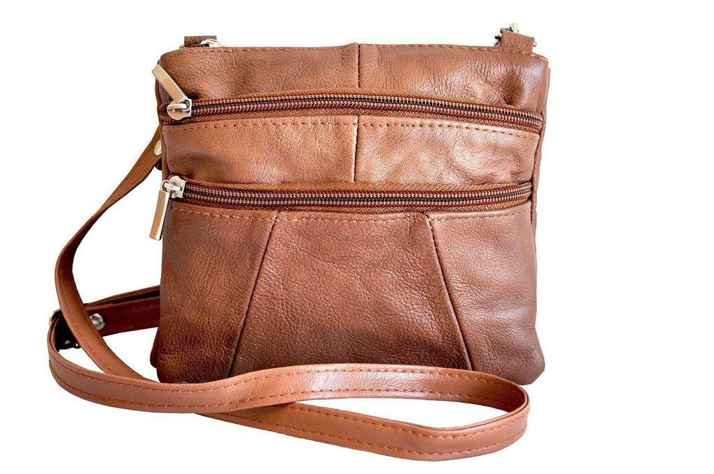 Quality Genuine Leather Cross-Body Bag Tan Color - WholesaleLeatherSupplier.com  - 2