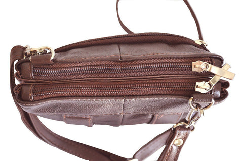 Quality Genuine Leather Cross-Body Bag Brown Color