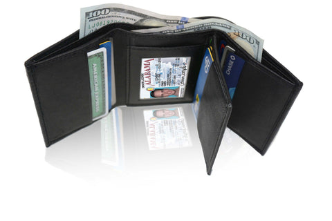 Deluxe RFID-Blocking Soft Genuine Leather Tri-fold Wallet for Men - Brown - WholesaleLeatherSupplier.com  - 6