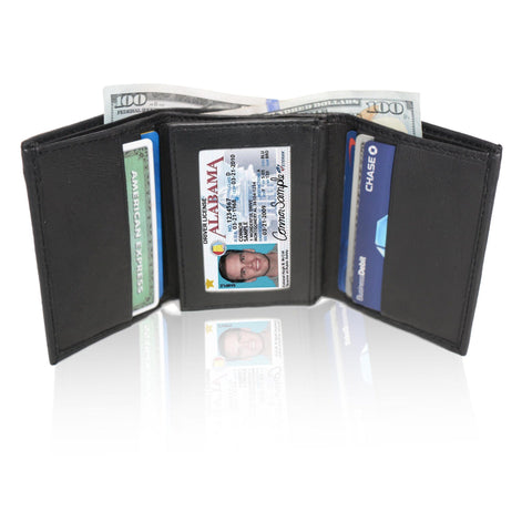 Deluxe RFID-Blocking Soft Genuine Leather Tri-fold Wallet for Men - Black