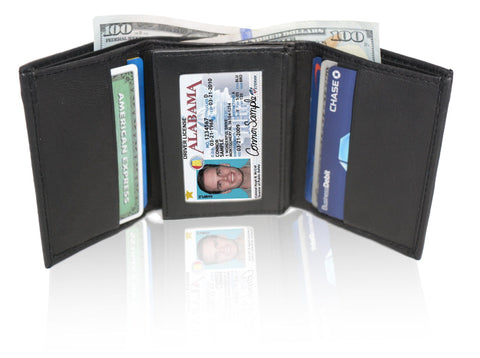 Deluxe RFID-Blocking Soft Genuine Leather Tri-fold Wallet for Men - Brown - WholesaleLeatherSupplier.com  - 5