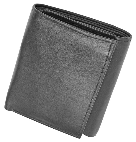 Deluxe RFID-Blocking Soft Genuine Leather Tri-fold Wallet for Men - Black - WholesaleLeatherSupplier.com  - 3