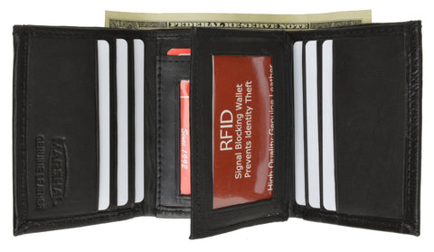 RFID Men's Trifold Leather Wallet RFID Blocking - WholesaleLeatherSupplier.com  - 2